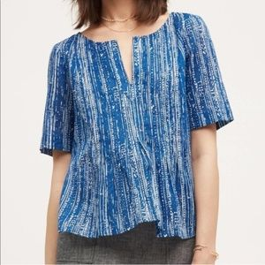Anthropologie Maeve Blue Printed Short Sleeve Top